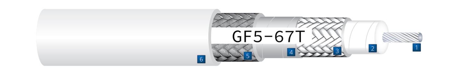 Aerospace cable construction drawing detailing components of GF5-67T  Low-Loss High-Performance 50 Ohm Coaxial cable
