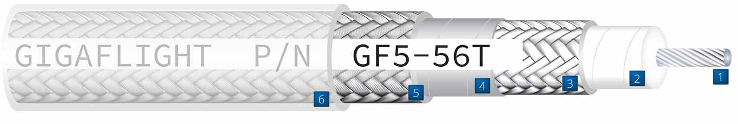 Aerospace cable construction drawing detailing components of GF5-56T Low-Loss High-Performance 50 Ohm Coaxial cable