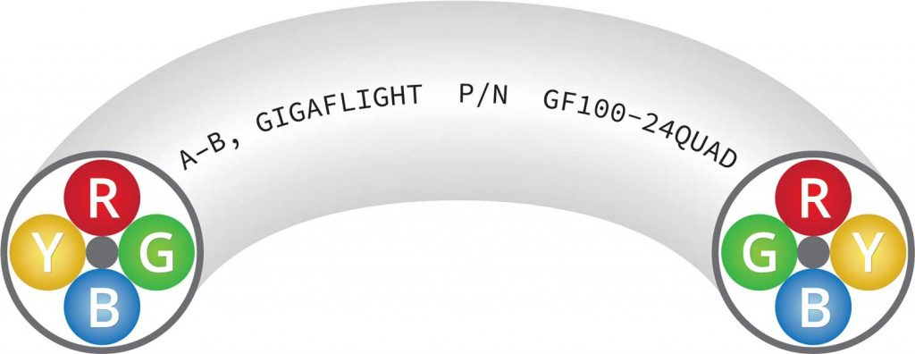 GF100-24QUAD 100Base-T Quadrax Ethernet Cable illustration showing layout of wires on ends A and B for socket & pin contacts when terminating